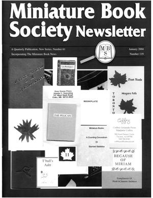 Primary view of object titled 'Miniature Book Society Newsletter 2004 January'.