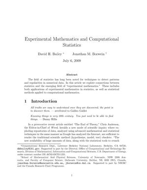 Primary view of object titled 'Experimental Mathematics and Computational Statistics'.