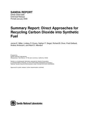 Primary view of object titled 'Summary report : direct approaches for recycling carbon dioxide into synthetic fuel.'.