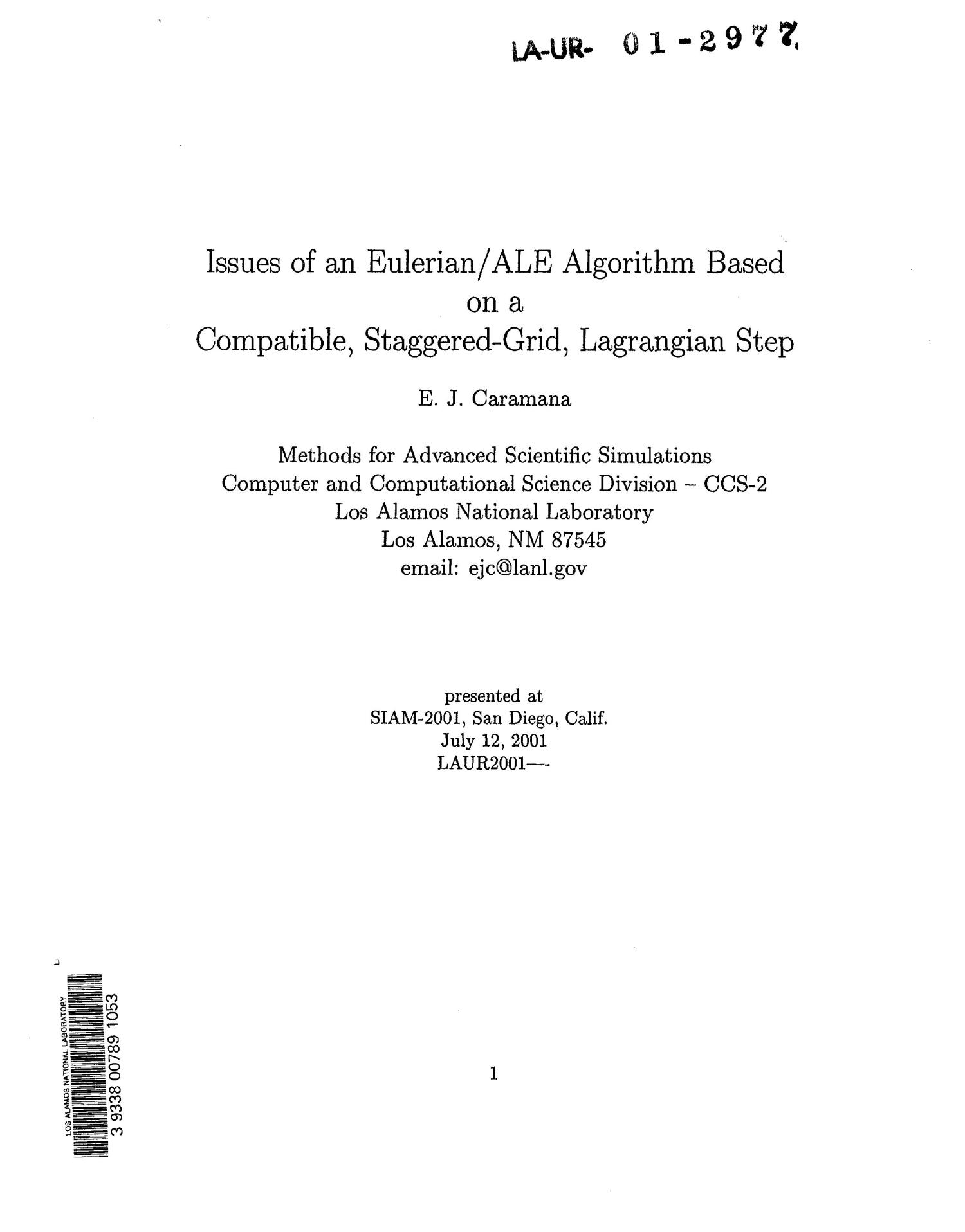 Issues of an Eulerian/ALE algorithm based on a compatible, staggered