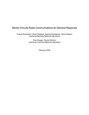 Primary view of object titled 'Barrier Immune Radio Communications for Demand Response'.