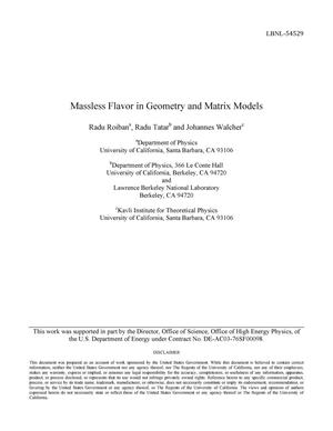 Primary view of object titled 'Massless Flavor in Geometry and Matrix Models'.