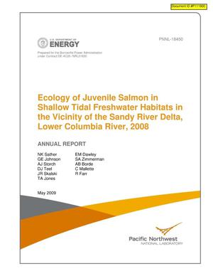 Primary view of object titled 'Ecology of Juvenile Salmon in Shallow Tidal Freshwater Habitats in the Vicinity of the Sandy River Delta, Lower Columbia River, 2008 Annual Report.'.