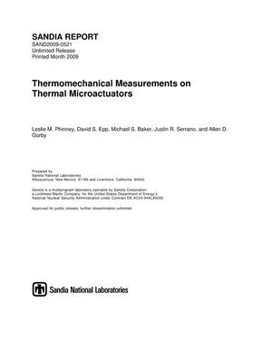 Primary view of object titled 'Thermomechanical measurements on thermal microactuators.'.