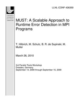 Primary view of object titled 'MUST: A Scalable Approach to Runtime Error Detection in MPI Programs'.