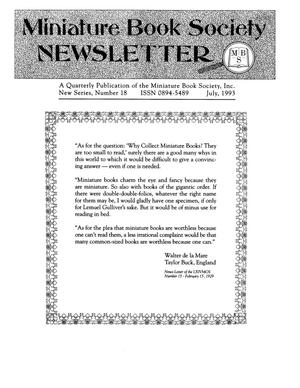 Primary view of object titled 'Miniature Book Society Newsletter 1993 July'.