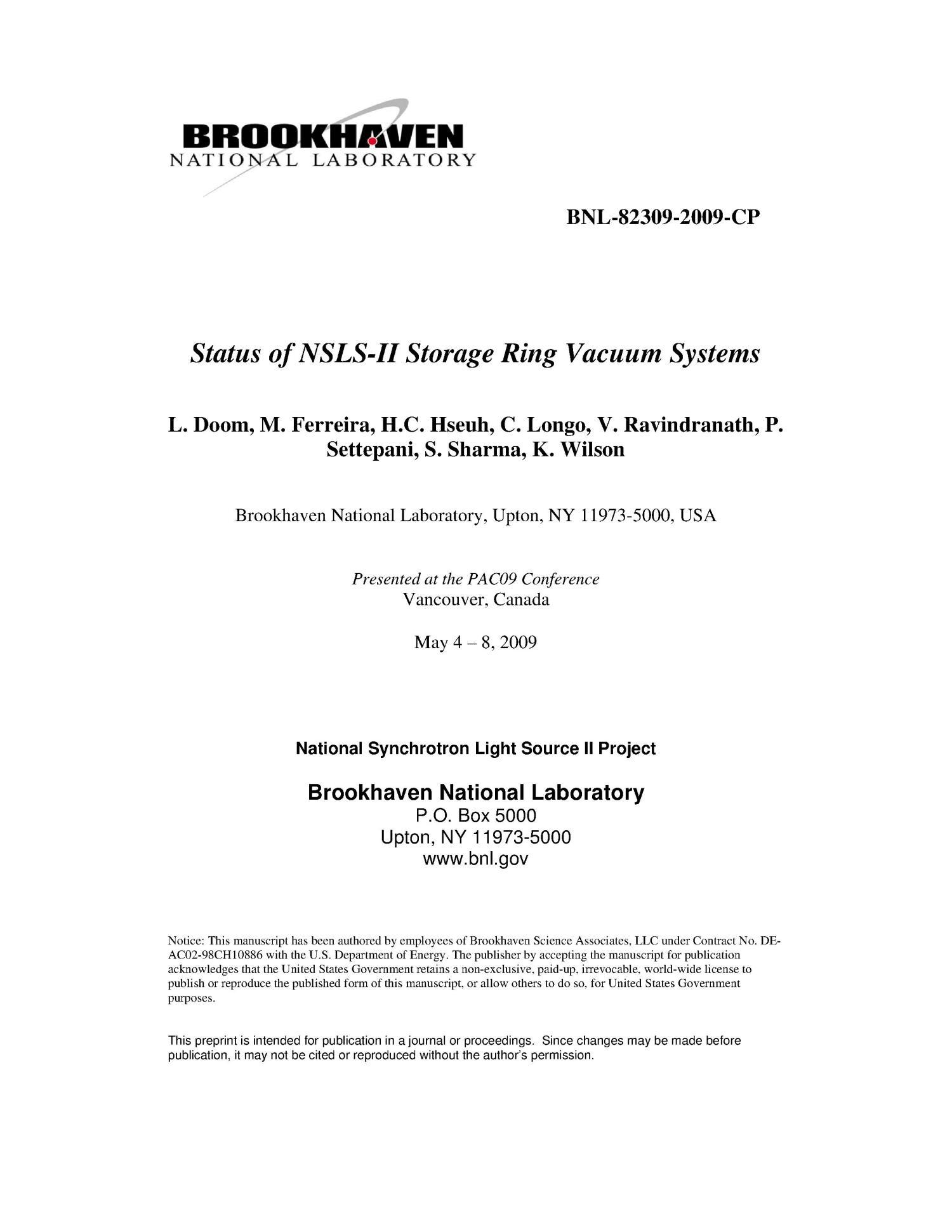 Status of NSLS-II Storage Ring Vacuum Systems - Digital Library