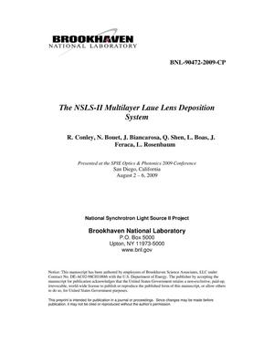 Primary view of object titled 'The NSLS-II Multilayer Laue Lens Deposition System'.