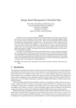 Primary view of object titled 'Energy Smart Management of Scientific Data'.