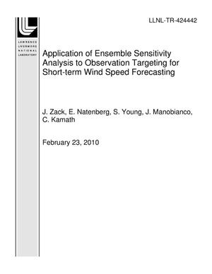 Primary view of object titled 'Application of Ensemble Sensitivity Analysis to Observation Targeting for Short-term Wind Speed Forecasting'.