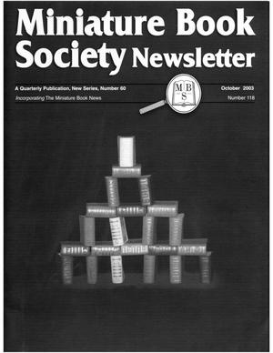 Primary view of object titled 'Miniature Book Society Newsletter 2003 October'.