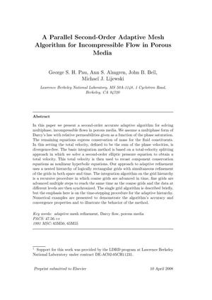 Primary view of object titled 'A Parallel Second-Order Adaptive Mesh Algorithm for Incompressible Flow in Porous Media'.