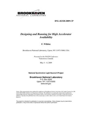 Primary view of object titled 'Designing and Running for High Accelerator Availability'.
