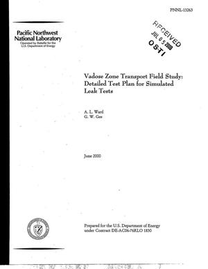Primary view of object titled 'Vadose Zone Transport Field Study: Detailed Test Plan for Simulated Leak Tests'.
