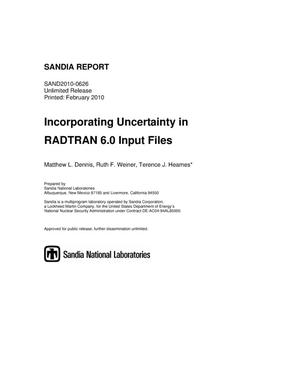 Primary view of object titled 'Incorporating uncertainty in RADTRAN 6.0 input files.'.