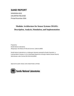 Primary view of object titled 'Modular Architecture for Sensor Systems (MASS) : description, analysis, simulation, and implementation.'.