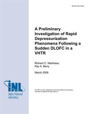 Primary view of object titled 'A Preliminary Investigation of Rapid Depressurization Phenomena Following a Sudden DLOFC in a VHTR'.