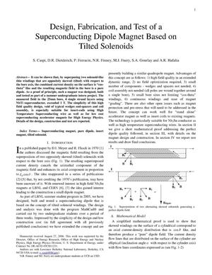 Primary view of object titled 'Design, Fabrication, and Test of a Superconducting Dipole Magnet Based on Tilted Solenoids'.