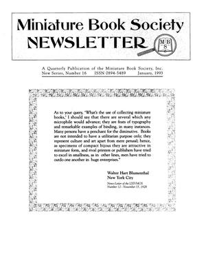Primary view of object titled 'Miniature Book Society Newsletter 1993 January'.