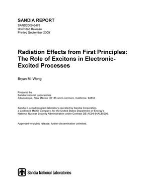 Primary view of object titled 'Radiation effects from first principles : the role of excitons in electronic-excited processes.'.