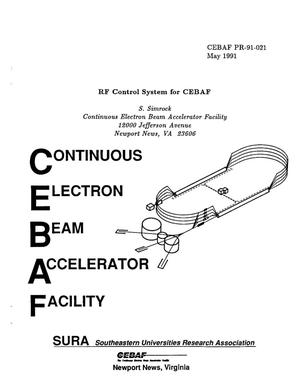 Primary view of object titled 'RF Control System for CEBAF'.