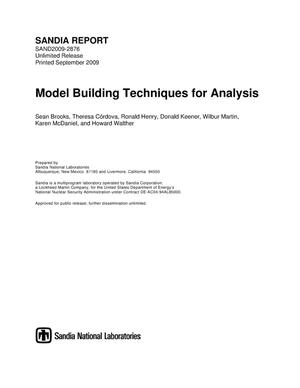 Primary view of object titled 'Model building techniques for analysis.'.