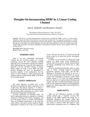 Primary view of object titled 'Thoughts on Incorporating HPRF in a Linear Cooling Channel'.