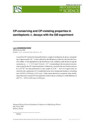 Primary view of object titled 'CP-conserving and CP-violating properties in semileptonic Bs decays with the D0 experiment'.