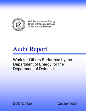 "Primary view of object titled 'Audit Report on ""Work for Others Performed by the Department of Energy for the Department of Defense""'."