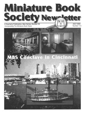Primary view of object titled 'Miniature Book Society Newsletter 2002 July'.