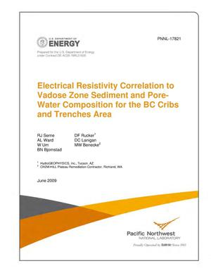 Primary view of object titled 'Electrical Resistivity Correlation to Vadose Zone Sediment and Pore-Water Composition for the BC Cribs and Trenches Area'.