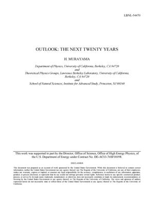 Primary view of object titled 'Outlook: The Next Twenty Years'.