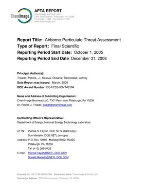 Primary view of object titled 'Airborne Particulate Threat Assessment'.