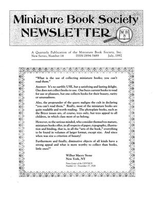 Primary view of object titled 'Miniature Book Society Newsletter 1992 July'.