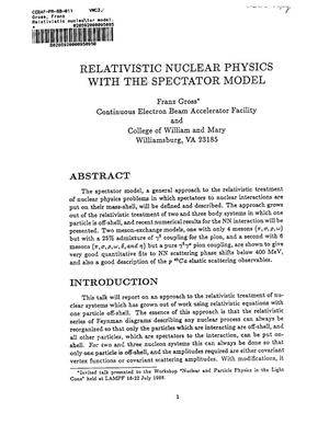 Primary view of object titled 'Relativistic Nuclear Physics with the Spectator Model'.