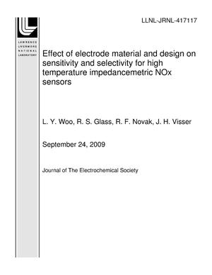 Primary view of object titled 'Effect of electrode material and design on sensitivity and selectivity for high temperature impedancemetric NOx sensors'.