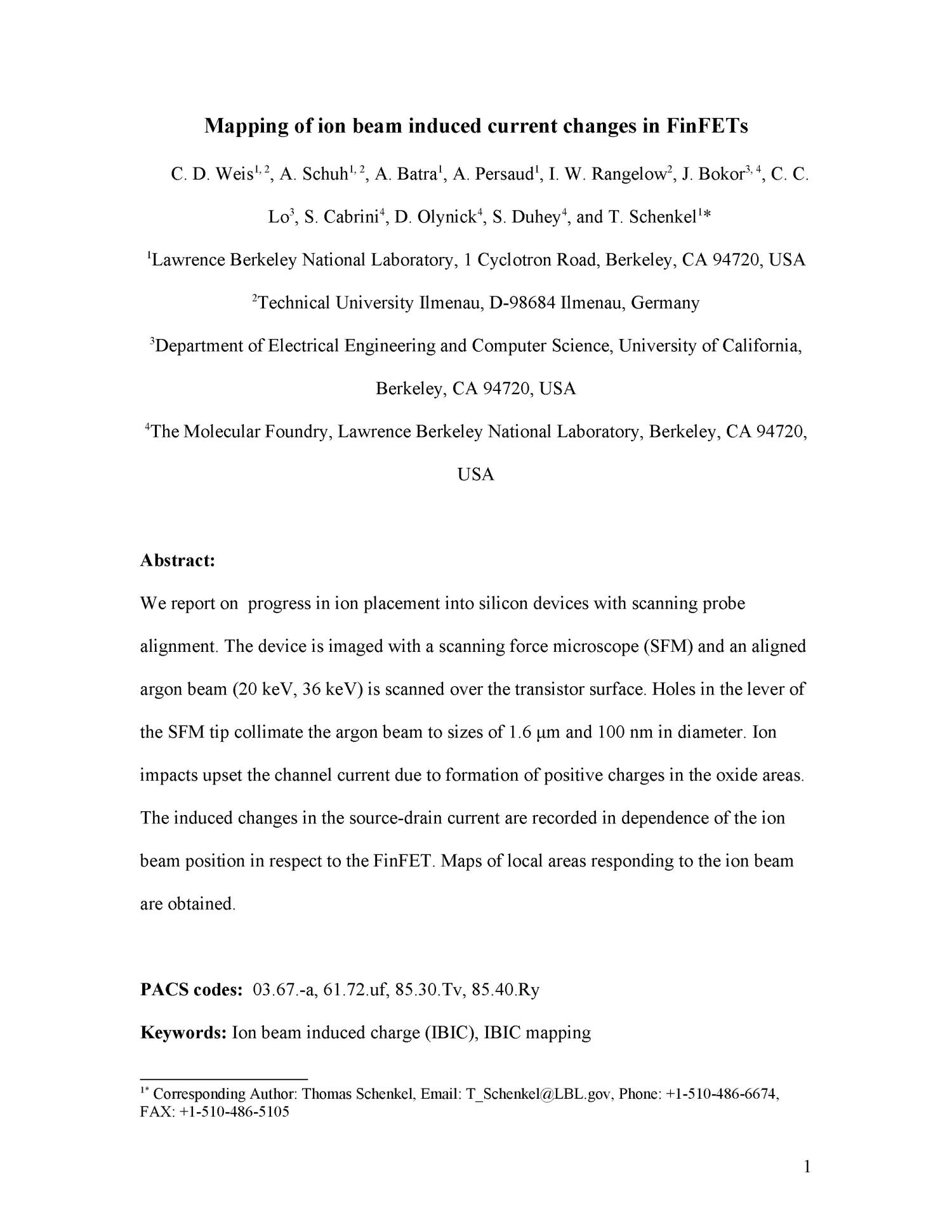Mapping of ion beam induced current changes in FinFETs - Digital Library