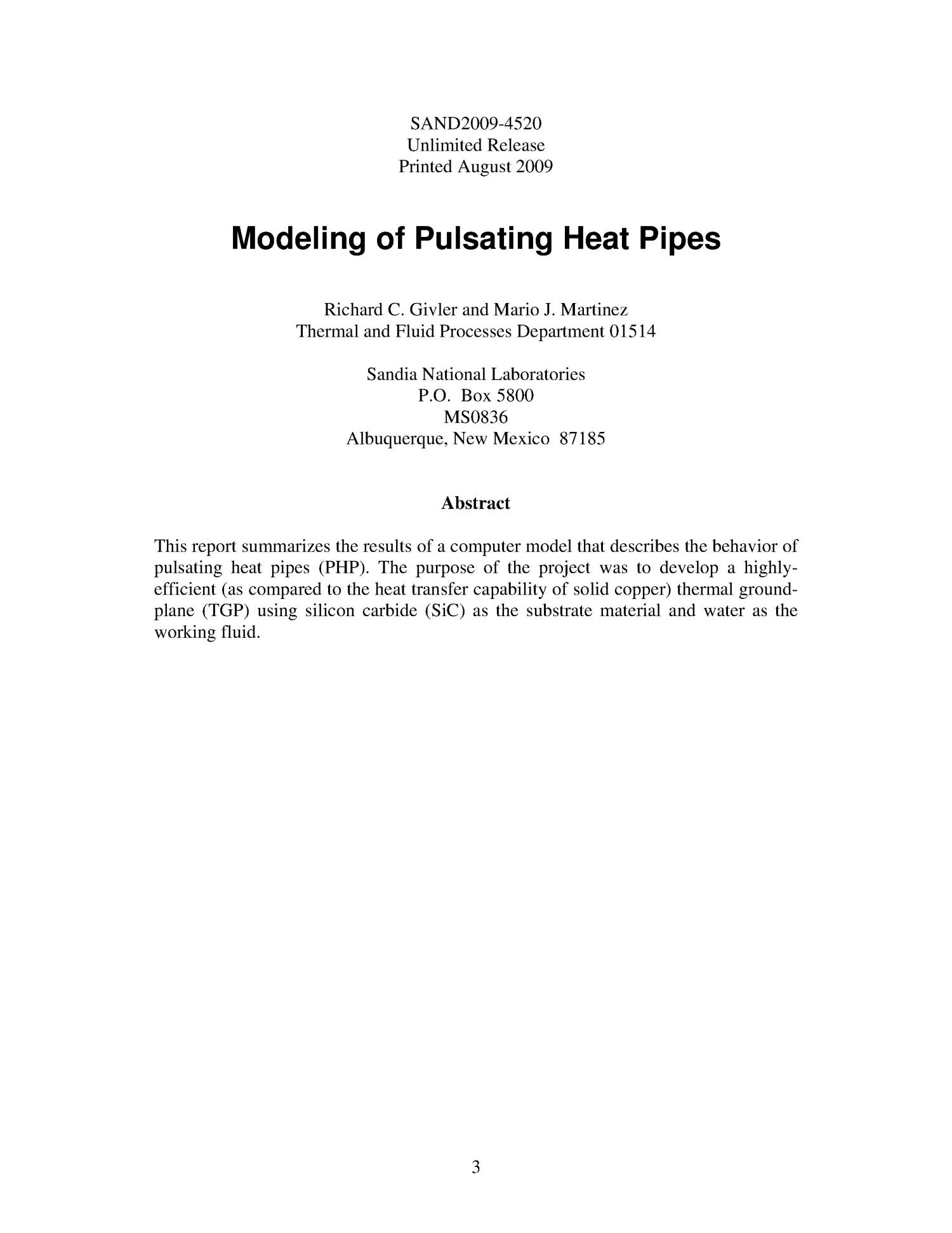 Modeling of pulsating heat pipes.                                                                                                      [Sequence #]: 3 of 33