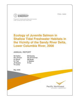 Primary view of object titled 'Ecology of Juvenile Salmon in Shallow Tidal Freshwater Habitats in the Vicinity of the Sandy River Delta, Lower Columbia River, 2008'.
