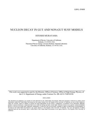 Primary view of object titled 'Nucleon decay in GUT and nonGUT SUSY models'.