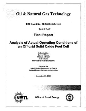 Primary view of object titled 'Analysis of Actual Operating Conditions of an Off-grid Solid Oxide Fuel Cell'.