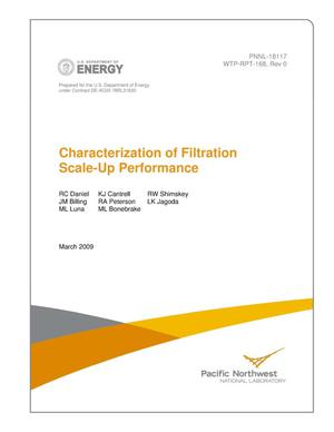 Primary view of object titled 'Characterization of Filtration Scale-Up Performance'.