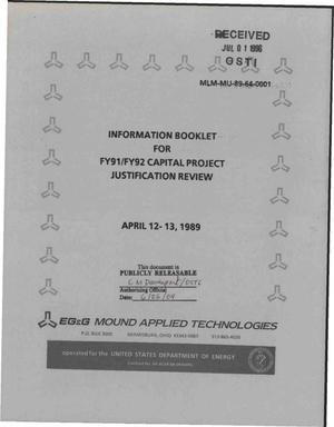 Primary view of object titled 'Information Booklet for FY91/FY92 Capital Project Justification Review'.