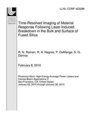 Primary view of object titled 'Time-Resolved Imaging of Material Response Following Laser-Induced Breakdown in the Bulk and Surface of Fused Silica'.