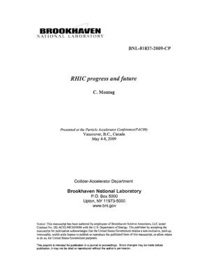 Primary view of object titled 'RHIC progress and future'.