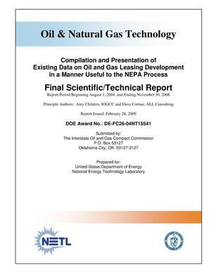 Primary view of object titled 'Compilation and Presentation of Existing Data on Oil and Gas Leasing Development in a Manner Useful to the NEPA Process'.