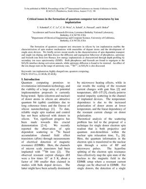Primary view of object titled 'Critical issues in the formation of quantum computer test structures by ion implantation'.