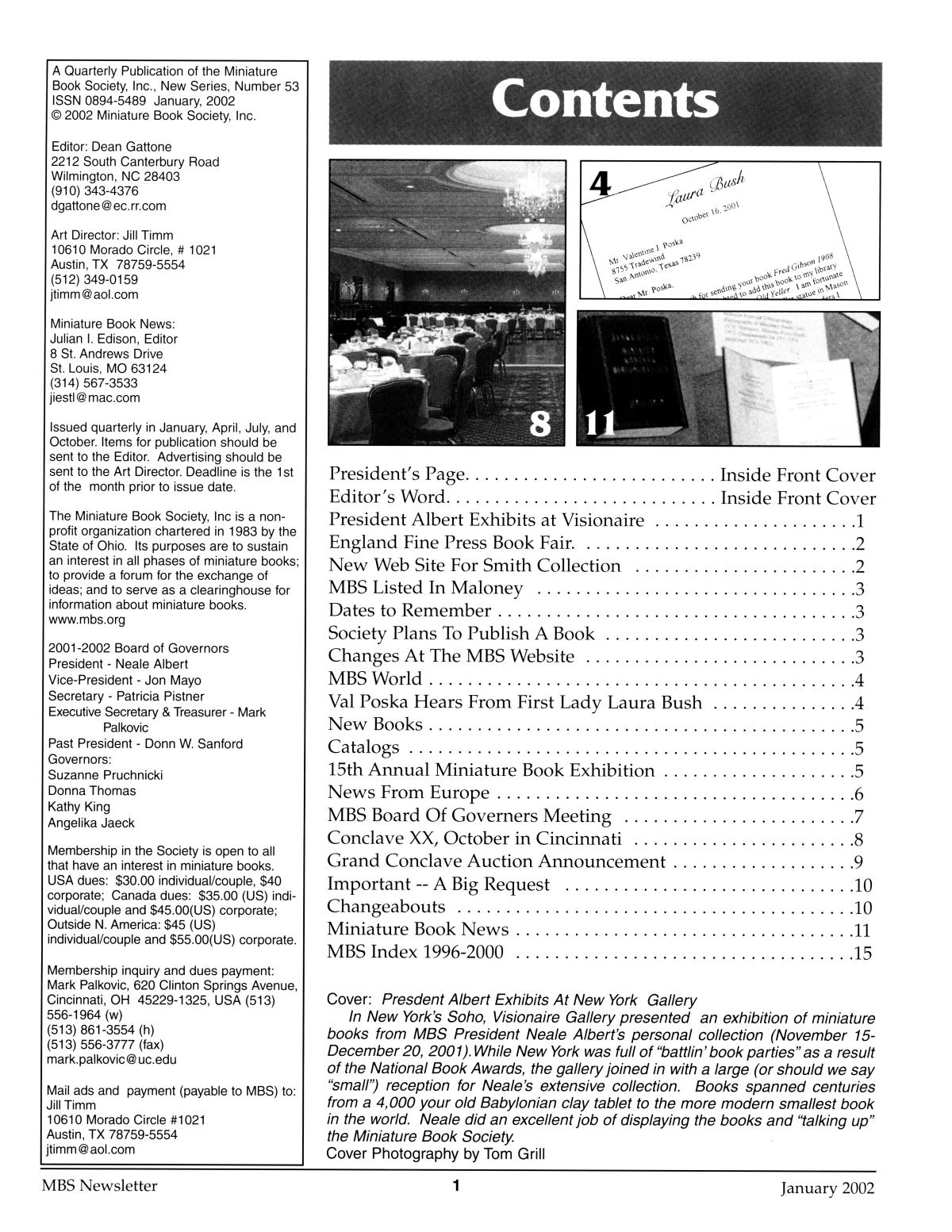 Miniature Book Society Newsletter 2002 January                                                                                                      1