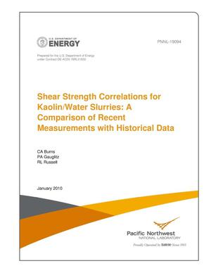 Primary view of object titled 'Shear Strength Correlations for Kaolin/Water Slurries: A Comparison of Recent Measurements with Historical Data'.