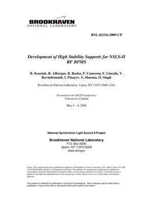 Primary view of object titled 'Development of High Stability Supports for NSLS-II RF BPMS'.